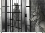 anthro canine duo fox greyscale male mammal marcus_(rukis) monochrome piercing prison reis rukis