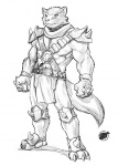 3_toes 5_fingers abs anthro armor biceps big_muscles canine cestus claws clothed clothing fur greyscale jak3 knee_guards loincloth male mammal monochrome muscular muscular_male pecs sekotta shoulder_guards simple_background skimpy solo standing toes wastelander white_background wolf