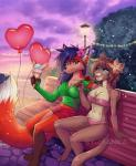 2018 5_fingers <3 anthro bandeau barefoot bikini blue_eyes breasts brown_hair canine cat clothed clothing day detailed_background digital_media_(artwork) digitigrade duo feline female flower fox fur hair heterochomia holding_object imanika mammal orange_fur outside pink_nose plant purple_fur sky smile swimsuit
