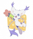 ambiguous_gender anthro blue_eyes clothing digimon feline flower fur gatomon gloves iguky looking_at_viewer mammal open_mouth plant semi-anthro simple_background white_fur