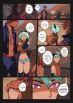 baseball_cap blue_hair blush clothed clothing comic desert dinosaur english_text female ginkgosan hair hat human jewelry male mammal mask necklace open_shirt outside purple_eyes reptile scalie shorts sibling sweater textRating: SafeScore: 13User: Nicklo6649Date: February 13, 2018