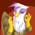 avian beak brown_feathers eyes_closed feathered_wings feathers female friendship_is_magic gilda_(mlp) gryphon hi_res just_right meme my_little_pony mysticalpha ok_sign pacha_(the_emperor's_new_groove) purple_feathers reaction_image solo white_feathers wings