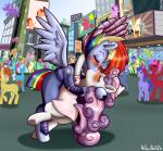 2018 absurd_res anibaruthecat blush clothing crowd cybernetics cyborg equine eyes_closed female female/female feral friendship_is_magic group hair hi_res hooves horn kissing long_hair machine mammal multicolored_hair my_little_pony outside pegasus rainbow_dash_(mlp) rainbow_hair sweetie_belle_(mlp) two_tone_hair underhoof unicorn wing_boner wings