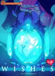 5_fingers <3 anthro blue_glow claws comic cover crystal digital_media_(artwork) english_text feline genie glass hi_res hidden_face lantern magic_glow mammal silhouette simple_background text wide_hips zummeng