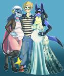 anthro black_fur blue_fur blush breasts canine clothed clothing dawn_(pokémon) dress eyewear female fur glasses hair hat human luca-chan lucario male mammal nintendo pokémon pregnant pregoo red_eyes simple_background smile video_games yellow_fur