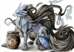 ambiguous_gender blue_fur canine feral fluffy fluffy_tail fur jar looking_at_viewer mammal markings pearleden side_view solo unusual_coloringRating: SafeScore: 2User: DogenzakaDate: August 08, 2009