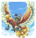 avian backpack bag beak bird brock_(pokémon) cloud cloudscape croagunk day ev133 feathered_wings feathers feral flying group happiny hi_res ho-oh human legendary_pokémon male mammal mouth_hold nintendo nude on_top outside pokémon pokémon_(species) riding size_difference sky straddling sudowoodo video_games wings