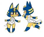 >:3 animal_crossing ankha anthro badassbaal blue_hair breasts brown_eyes cat egyptian eyelashes feline female hair hi_res mammal nintendo simple_background solo video_games white_background wide_hips