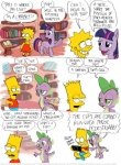 comic crossover dialogue dragon english_text equine female feral friendship_is_magic fur group hair half-closed_eyes horn male mammal multicolored_hair my_little_pony open_mouth ponyville purple_fur purple_hair scalie slit_pupils spike_(mlp) text the_simpsons timothy_fay twilight_sparkle_(mlp) two_tone_hair unicorn what