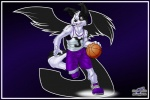 5_fingers anthro ball basketball basketball_(ball) black_fur black_nose border border_collie brown_eyes bulge canine clothed clothing collie dog footwear front_view fully_clothed fur humanoid_hands jesse_collins legwear logo looking_aside male mammal open_mouth running shirt shoes socks solo tank_top white_fur wolfblade