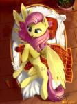 angel_(mlp) blue_eyes carrot cutie_mark detailed_background discordthege ear_tuft equine feathered_wings feathers female feral fluttershy_(mlp) food friendship_is_magic hair hooves lagomorph looking_at_viewer lying mammal my_little_pony pegasus pink_hair rabbit signature smile tuft vegetable wings yellow_feathersRating: SafeScore: 9User: MillcoreDate: June 23, 2017
