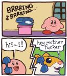 ! :d alien ambiguous_gender anthro bald blush border close-up comic cute dialogue english_text fur hamster humor kirby kirby_(series) mammal nintendo open_mouth phone profanity rick_(kirby) ringing rodent smile standing text tongue unknown_artist video_games waddling_head what white_borderRating: SafeScore: 18User: StarmanInTheSkyDate: April 26, 2018