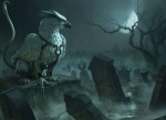 avian beak daniel_ljunggren feral graveyard gryphon harness landscape looking_away magic_the_gathering moon night official_art quadruped solo standing tombstone tree