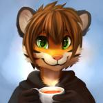 anthro beverage brown_hair clothed clothing cup feline food fur green_eyes hair happy holding_cup looking_at_viewer male mammal multicolored_fur orange_fur short_hair simple_background smile solo stripes tea thanshuhai tiger white_furRating: SafeScore: 25User: MillcoreDate: October 06, 2016