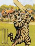 4_fingers ambiguous_gender anthro biped black_fur brown_fur building cat cricket_(sport) cricket_bat day detailed_background featureless_crotch feline fur grass hedge holding_object house license_info looking_up louis_wain mammal nude open_mouth outside painting_(artwork) playing_sport public_domain semi-anthro sky solo sport standing striped_fur stripes tan_fur traditional_media_(artwork) whiskers wicket