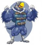 5_fingers abs animal_crossing anthro armor avian beak bicpes bird bottomless cleft clothed clothing eagle feathers happyending helmet hi_res male muscular nintendo smile solo standing sterling_(animal_crossing) thumbs video_games