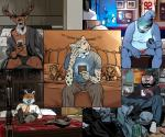 alcohol anthro avian bed beverage billmund bird canine cellphone cervine clothed clothing creatures_of_the_night deer feline fox group hi_res laugh male mammal open_mouth owl phone pigeon plushie sitting slightly_chubby smileRating: SafeScore: 4User: BooruHitomiDate: September 21, 2017