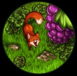 2011 aesop alpha_channel ambiguous_gender canine fable feral food fox fruit grapes licking licking_lips mammal shibara simple_background solo the_fox_and_the_grapes tongue tongue_out transparent_background
