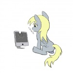 apple computer cutie_mark derpy_hooves_(mlp) doing_it_wrong equine feathered_wings feathers female feral food friendship_is_magic fruit grey_feathers mammal my_little_pony pegasus simple_background solo thunderthorn white_background wings
