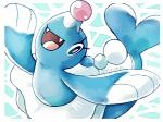 2016 artsy-theo blue_body blush brionne cute fangs female feral jumping looking_at_viewer mammal marine nintendo pinniped pokémon smile solo video_games