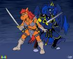 2017 anthro anthrofied armor bikini blue_hair boots breasts chainmail_bikini cleavage clothed clothing cutie_mark duo equine female footwear friendship_is_magic frown gloves hair holding_object holding_weapon horn mammal marmelmm melee_weapon my_little_pony navel princess_luna_(mlp) rabbi-tom red_hair red_shetland simple_background standing swimsuit sword unconvincing_armor vambraces weapon winged_unicorn wings