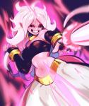 5_fingers alien android_21 armwear black_sclera blush breasts clothed clothing collar dragon_ball dragon_ball_fighterz ear_piercing eymbee female front_view glowing grin hair hi_res humanoid light_skin long_hair low-angle_view majin majin_android_21 messy_hair midriff navel not_furry pants piercing pink_skin pointy_ears red_eyes sharp_teeth smile solo teeth white_hair