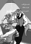 absurd_res anthro billiard_ball billiards cigar classy clothed clothing crocodile crocodilian cue_ball eyewear glasses greyscale group hi_res lamp male monochrome reptile scalie schbelt smoke smoking snake stippling tone_work