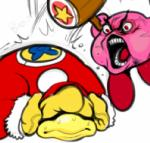 2015 angry avian bird dedede digital_media_(artwork) duo hammer hat hat_over_eyes kirby kirby_(series) lips modeseven nintendo open_mouth penguin pink_skin red_eyes simple_background teeth tongue tools vein video_games white_backgroundRating: SafeScore: -1User: AxolotlDate: November 17, 2017
