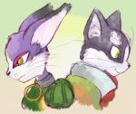 .hack cat clothed clothing crossover feline female fur green_eyes log_horizon male mammal mewhaku mia_(.hack) multicolored_fur nyanta purple_fur simple_background two_tone_fur whiskers white_fur yellow_eyes