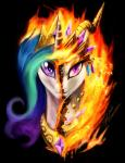 2016 crown equine female friendship_is_magic jewelry mammal my_little_pony necklace princess_celestia_(mlp) purple_eyes slifertheskydragon slit_pupils solo split_personality