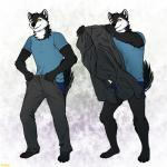 2018 4_toes anthro barefoot black_fur black_nose black_sclera canine claws clothed clothing conditional_dnp dog fur hi_res husky mammal meme pants plantigrade ratte standing thehuskyk9 toe_claws toes torn_clothing underwear yellow_eyes