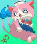 blush bottomless butt cat clothed clothing feline female gunsoniko hi_res looking_at_viewer mammal sailor_fuku sailor_uniform sailornyan sitting solo suggestive video_games yo-kai_watch