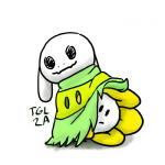 2016 asriel_dreemurr disguise flora_fauna flower flowey_the_flower hiding mimikyu nintendo plant pokémon thisgirllikestoarty undertale video_games