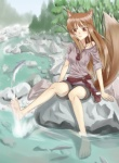 animal_humanoid barefoot breasts brown_eyes brown_hair canine female fish hair hindpaw horo humanoid mammal marine paws river solo spice_and_wolf sukua water wolf wolf_humanoid wolf_tailRating: SafeScore: 4User: Kitsu~Date: August 08, 2009