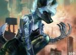 african_wild_dog anthro building canine city claws clothed clothing female gasmask_(artist) hair kace_(ruse63) kneeling mammal outside prosthetic_arm solo white_hair