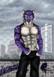 2016 abs absurd_res anthro bengal_tiger brick_wall clothed clothing dainoth feline fur hi_res looking_at_viewer male mammal muscular navel pecs purple_fur red_eyes solo stripes tiger topless white_fur