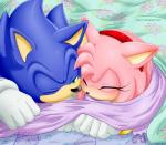 2013 amy_rose bed bedding black_nose blanket blue_fur blush bracelet clothing cuddling cute daww duo eyelashes eyes_closed female fur gloves hairband hedgehog jewelry mammal myly14 on_bed one_eye_closed pink_fur romantic_couple shared_scarf sleeping smile sonic_(series) sonic_the_hedgehog under_covers