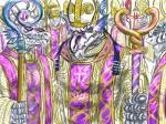 4:3 anthro blue_eyes caduceus cane cleric clothed clothing cross dragon duo_focus group pope priest religion reptile robe scalie scepter snake western_dragon yadRating: SafeScore: 0User: smat_dragonDate: January 23, 2016