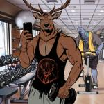 anthro avian billmund bird cervine clothed clothing creatures_of_the_night deer duo exercise gym looking_at_viewer male mammal muscular muscular_male phone pigeon shirt smile sweat tank_top the_stag vein weightlifting wingman workoutRating: SafeScore: 4User: Cat-in-FlightDate: February 04, 2018