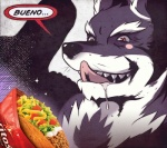 anthro bcokami black_fur black_nose blush bueno canine doritos food fur male mammal meme orion_(aluminemsiren) portrait red_eyes saliva solo taco teeth tongue white_fur wolf