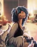 anthro avian blue_hair blurred_background breasts clothed clothing detailed_background eyes_closed female hair happy lukiri smile solo