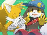 anthro baseball_cap belt canine clothed clothing cub cute_fangs duo english_text featureless_crotch fox gesture hat klonoa klonoa_(series) lagomorph leaning leaning_forward looking-at_viewer male mammal miles_prower mostly)nude one_eye_closed open_mouth rabbit simple_background sitting smile sonic_(series) text topless wink young zacks123
