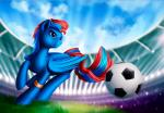 ball blue_feathers blue_hair cutie_mark day detailed_background equine fan_character feathered_wings feathers feral grass hair hi_res hooves l1nkoln male mammal my_little_pony outside pegasus red_hair sky smile soccer soccer_ball solo sport stadium wings