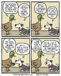 avian bird brian_gordon canine collar comic dialogue dog duck english_text feral fur grey_fur humor mammal multicolored_fur open_mouth speech_bubble text the_truth white_furRating: SafeScore: 14User: SwiperTheFoxDate: May 17, 2017