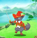 ambiguous_gender anthro blue_eyes bottomless canine clothed clothing cute hat holding_object holding_weapon lake looking_at_viewer mammal melee_weapon nature nintendo open_mouth outside pokémon pokémorph pose shotien solo standing sword video_games weapon zorua