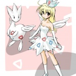 alternate_species blonde_hair brown_eyes clothing cosplay crown dress duo female feral hair human humanized long_hair low_res mammal nintendo pokémon pokémon_trainer ranphafranboise togetic video_games wings