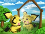 akela_taka alter_ego altered_reflection ambiguous_gender detailed detailed_background dual_persona feral mammal mirror nintendo pichu pokémon pokémon_(species) realistic reflection rodent solo toony video_games
