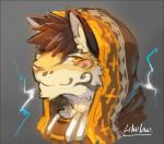 2017 agitype01 anthro blush brown_hair clothed clothing feline fur grey_background hair headshot_portrait leopard likulau looking_at_viewer male mammal nekojishi portrait simple_background smile solo tan_fur yellow_eyes