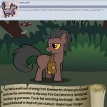 bitterplaguerat bush earth_pony equine forest horse loki_(bitterplaguerat) mammal mushroom my_little_pony pony solo text tree yellow_eyes