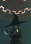 axe candle cypherone female green_eyes hat hi_res human looking_at_viewer magic_user mammal melee_weapon not_furry smile solo weapon witch witch_hat
